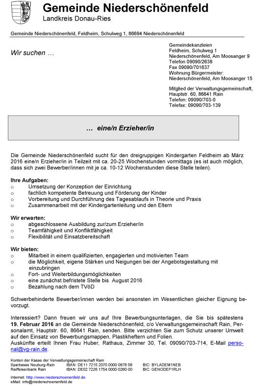 Informationen der Gemeinde Niederschönenfeld, Kreis Donau-Ries, Bayern